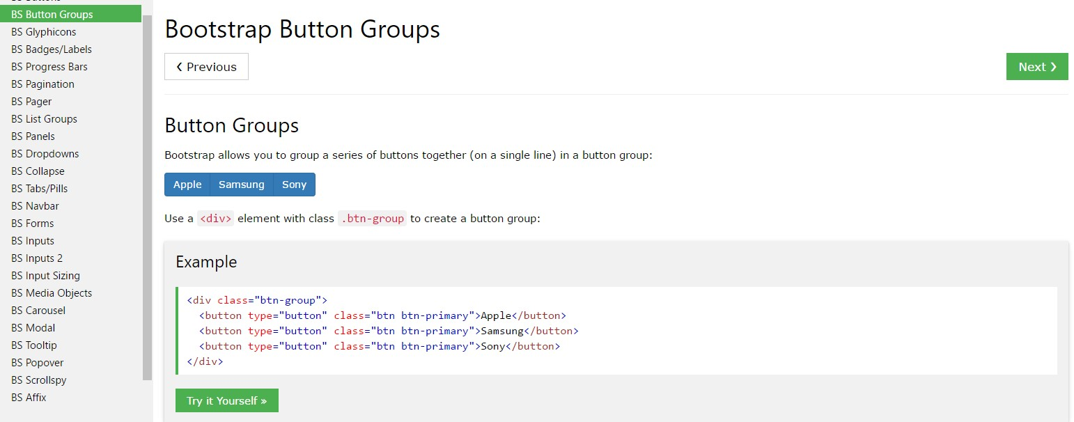 Bootstrap button group  guide