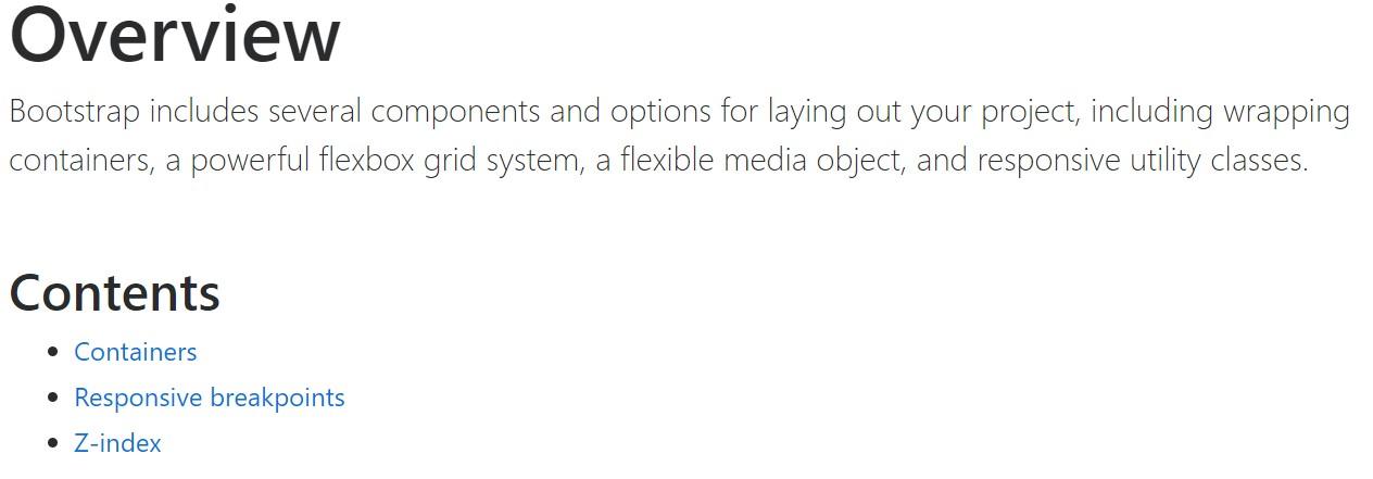 Bootstrap layout  authoritative documentation
