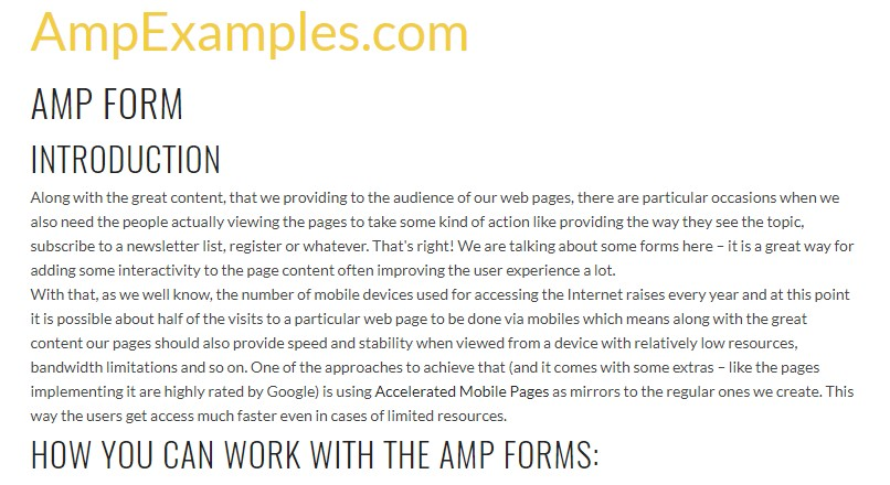 Let us  check out AMP project and AMP-form  feature?