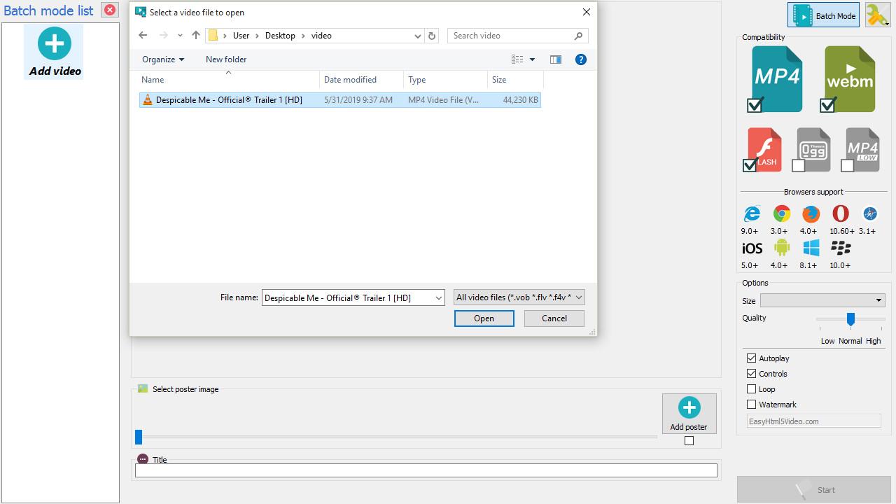 Video HTML5 app